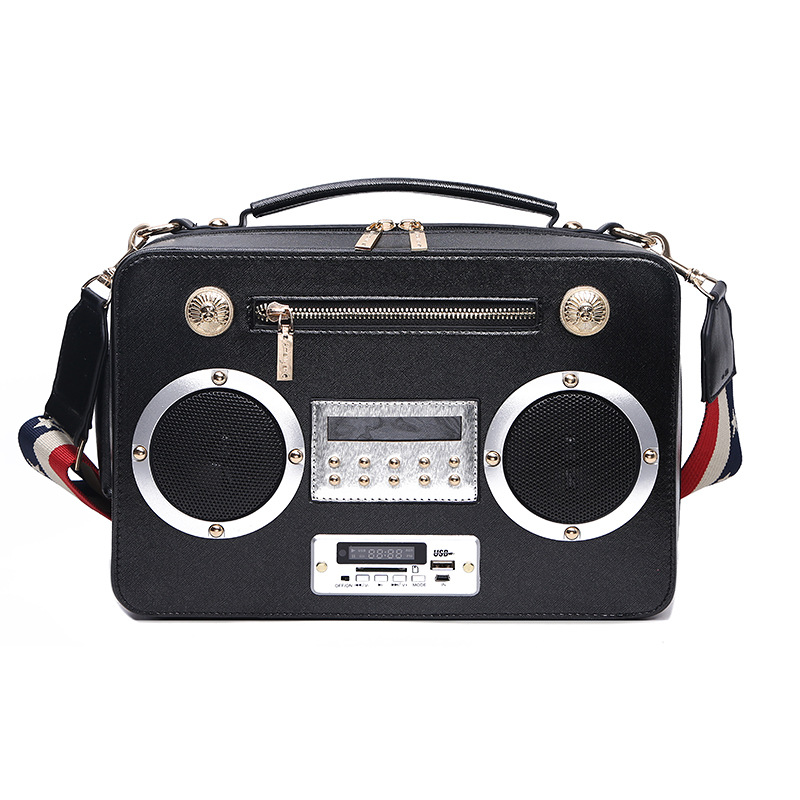 fashion radio style pu leather shoulder bag for women personality handbag female crossbody messenger bag purse black/silver/bron