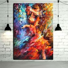 Новейший дизайн, искусный ручной работы, высокое качество, нож, танцовщица фламенко, картина маслом, испанская Танцующая леди, живопись на холсте