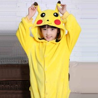 Pokemon Pikachu Unisex Child Sleepwear Pajamas Halloween Carnival Christmas Women Anime Cosplay Costume Flannel Hoodie Robe