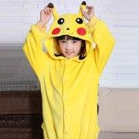 Pokemon Pikachu Unisex Child Sleepwear Pajamas Halloween Carnival Christmas Women Anime Cosplay Costume Flannel Hoodie Robe