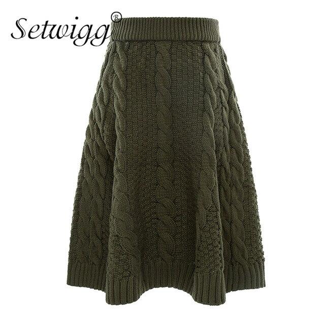 SETWIGG Autumn & Winter Thick Twist Knit Pattern Long Skirts Big ...