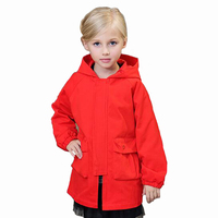 Fashion Girls Jacket Kids Cotton Coat Children Red With A Hat Long Cartoon Printing Windbreaker 2017