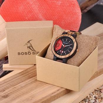 BOBO BIRD Unique Dail Auto Date Colorful Wood Band Wrist Quartz Watches 5