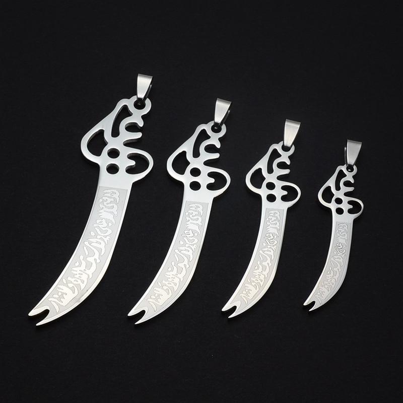 Collier avec pendentif épée islamique pour Imam Ali Zulfiqar, chaîne SS, 60CM de Long, disponible en 4 tailles