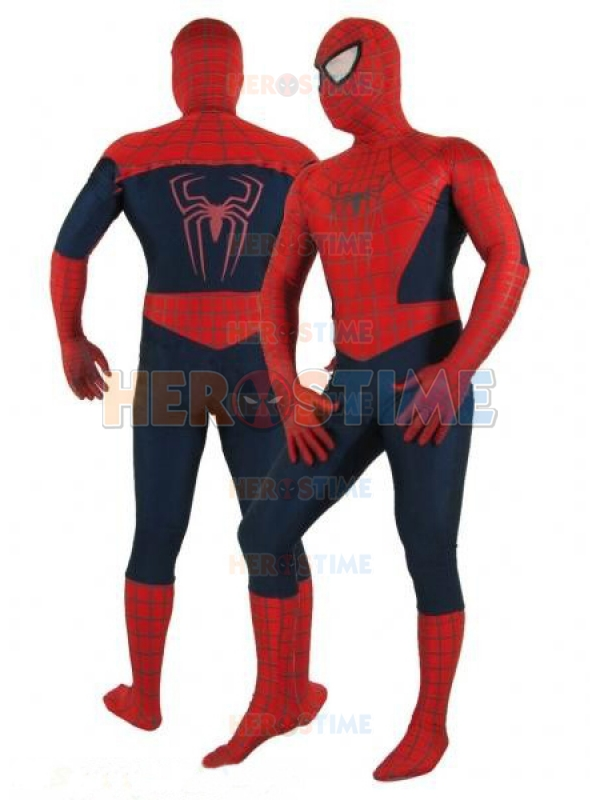 Classic Spider-man Costume Spandex Superhero Costume Cosplay Dark Blue and Red Spiderman Costume wholesale free shipping