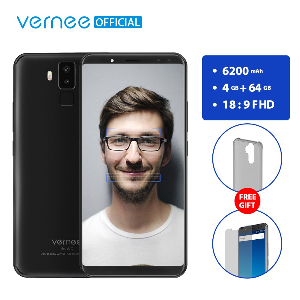 Vernee X 6.0 Inch 6200mAh 18:9 FHD Smartphone 4G LTE Cell Phone Face ID 4GB RAM 64GB ROM MTK6763 Octa Core 16.0 MP Mobile Phone