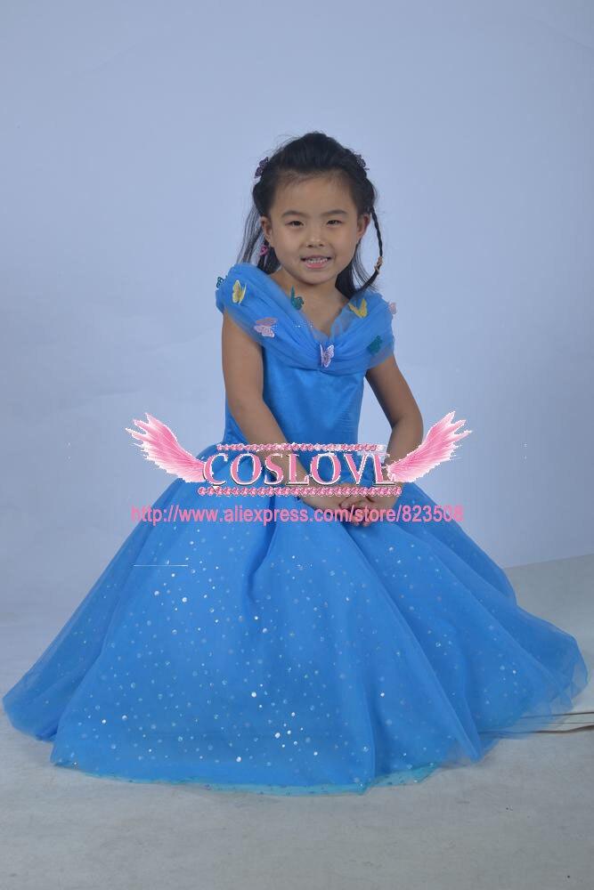 2017 Kid Blue Princess Cinderella suknelė Cosplay kostiumas Party - Karnavaliniai kostiumai - Nuotrauka 4