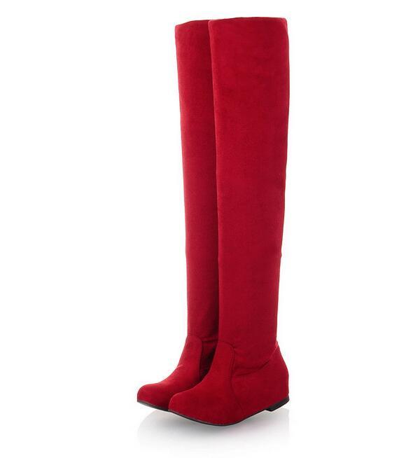 Leopard De rouge Suede Chaussures Hauts orange Rouge Taille Adapte vin Hauteur Talons Bottes Augmente À print rouge marron Bas Femmes Stretch Noir xqYAvfFnw