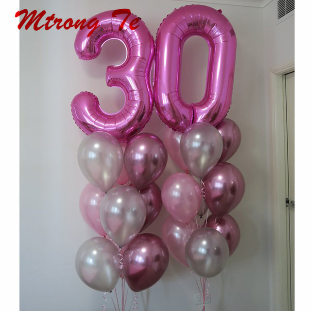 20pcs Lot 40inch Pink Number 30th Birthday Party Decoration Foil Helium Balloons 12 Metallic Chrome Latex Air Supplies
