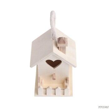 Bird Feeder Outdoor Feeding Wooden Garden Decoration Heart Shape Hole Nest House W110-W110 Кормушка