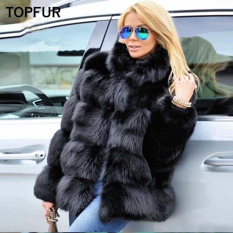 Femmes Renard gris Black D'hiver violet bourgogne Col Réel Avec De Luxueux Mode khaki Épais Chaud Solide Naturelle Manteau Nouvelle blue red Manteaux Fourrure Topfur wzq8Xgq