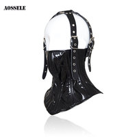 Adjustable Leather bdsm Bondage Sex Set Slave Collar Headgear Adult Game Sex Toys For Women Men SM Erotic Toys Neck Collar