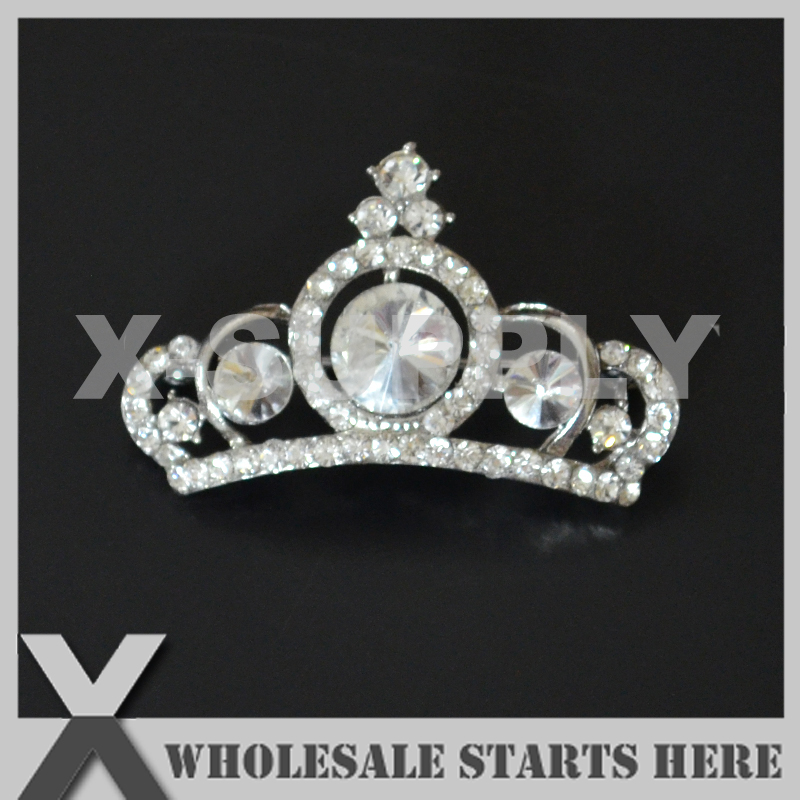 27x43mm Crown Silver Metal Rhinestone Brooch with Safety Pin Backing,Used for Party Evening Wedding Dress,Decorations