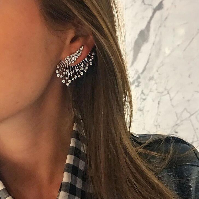 1 Pc Statement Crystal Stud Earrings Set For Woman Punk Rock Boucle D'oreille Vintage Jewelry Dazzling  Brincos E0241