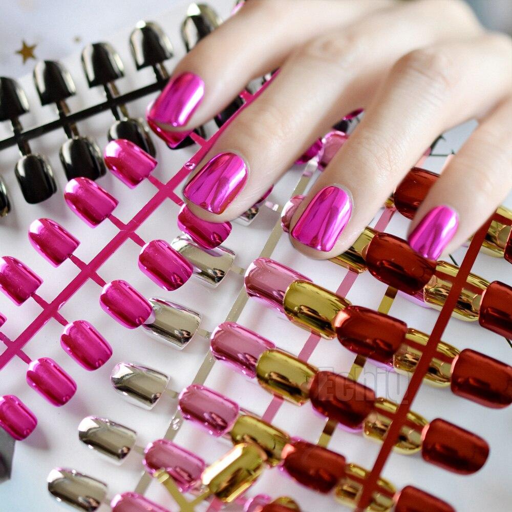 Sexy fashion fake nails nail metal plate short dimension Pure blue ...