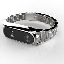 Plus correa de metal de acero inoxidable para xiaomi miband 2 pulsera inteligente cinturón de correa sin tornillos pulsera xiomi mi banda 2 reemplazar