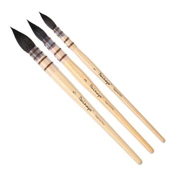 3 pinceaux aquarelle pinceaux,rond pinceau cheveux ensemble pour la peinture d'art, gouache 2