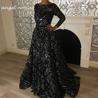 Long Sleeves High Quality Black Sequins Muslim Evening Dress 2019 Robe De Soiree Long with Detachable Skirt