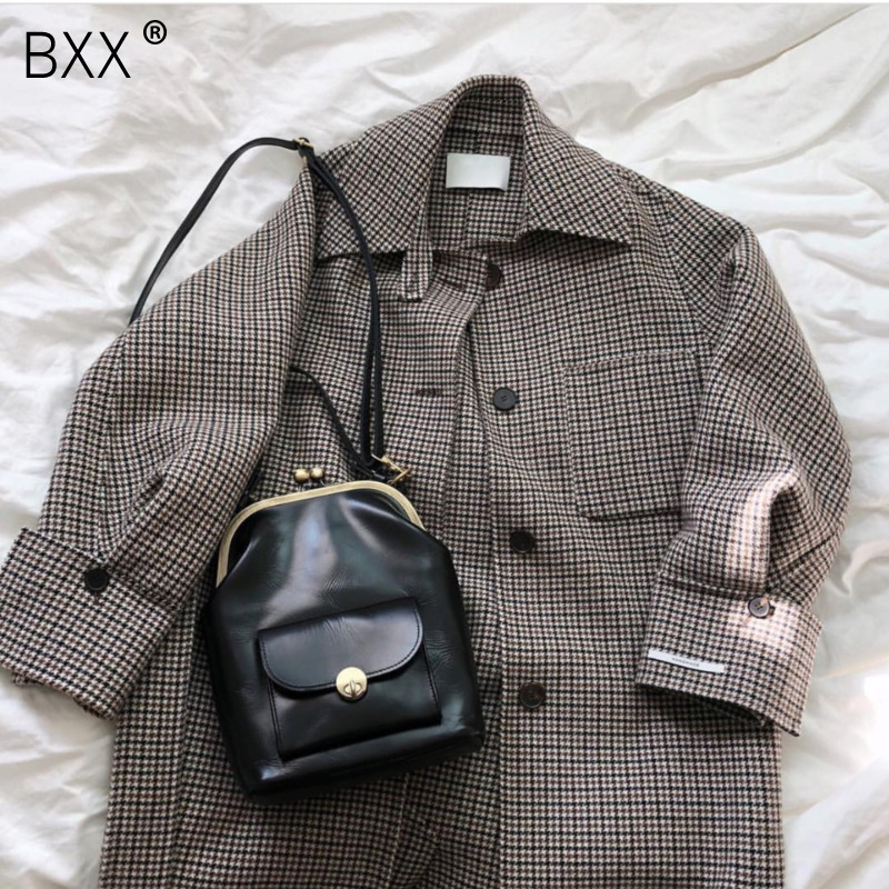 [BXX] New Vintage Pu Leather Shell Women Shoulder Bag Luxury Brand Women's Messenger Bag Famous Designer Crossbody Bags HF914