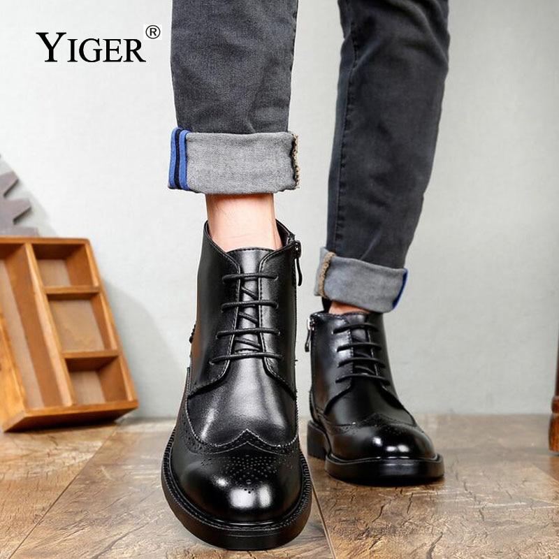 YIGER ΝΕΑ Μπότες Άνδρες Γνήσια - Ανδρικά υποδήματα - Φωτογραφία 4