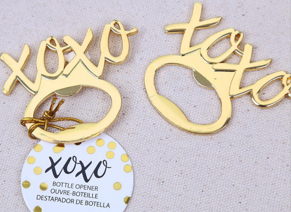 lastest fashion new alloy metal golden XOXO beer bottle opener summer on beach for Wedding Party Favor decor Gift