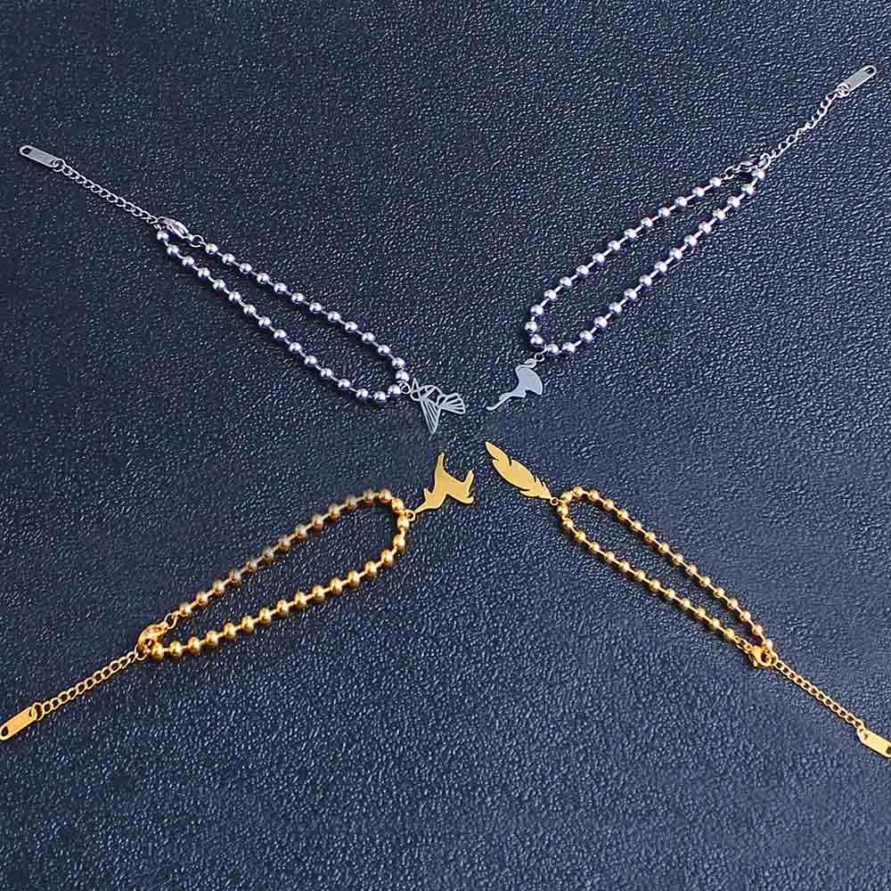 stainless steel chain link couple best friend charm braclet for women beads bracelet bangles charm female femme bohemian