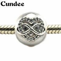 Pandora Bilezik ile Otantik 925 Gümüş Boncuk Infinity Kalp Klip Charms Temizle Kübik Zirkonya Takı