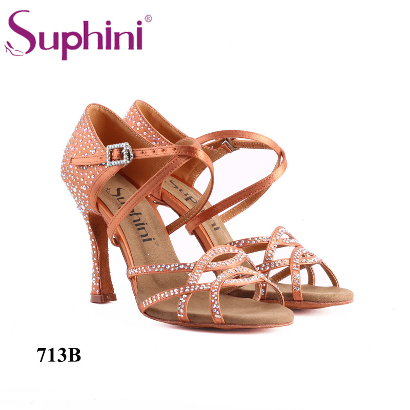 Free Shipping Suphini Rhinestone Woman Dance Shoes Salsa Bling Bling Star Latin Dance Shoes free shipping 2017 suphini latin shoes dance shoes latin rhinestone salsa shoes woman dance shoe