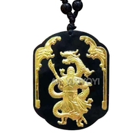 Wonderful Natural Black Green Hetian Jade + 18K Gold Chinese Dragon GuanGong Amulet Lucky Pendant + free Necklace Fine Jewelry