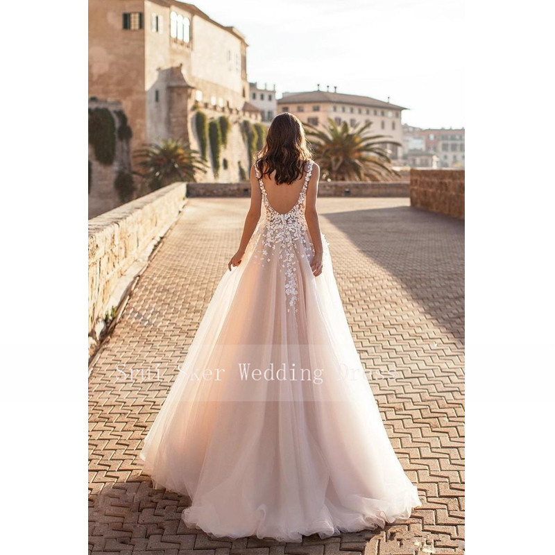 Image 4 - Marvelous champagne V Neck Wedding Dresses 3D Floral Appliqued Lace Bridal Gowns Tulle vestido de novia Plus size-in Wedding Dresses from Weddings & Events