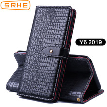 SRHE For Huawei Y6 2019 Case Cover Flip Leather Silicone Wallet Card Case For Huawei Y6 2019 With Magnet Holder 609 inch