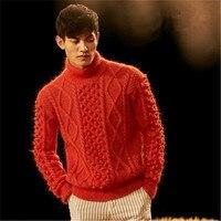 Новое поступление 100% ручная работа мохер витая трикотажная Мужская однотонная водолазка; свитер один и более размер