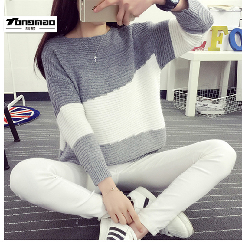 2016Autumn And Winter Women Sweater Jumper Geometric Pullover BatwingLong Sleeve Casual Loose Solid Blouse Shirt Tops Femininas