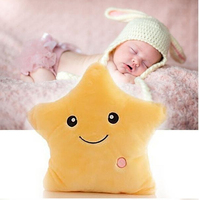 1pc Luminous Back Pillow Christmas Toy LED Light Plush Colorful Glow Cute Star Cushion Birthday Gift