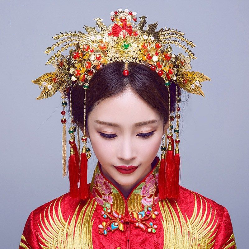 Chinese Traditional Bridal Headdress Long Red/GreenTassels Beads Flowers Hair Jewelry 2