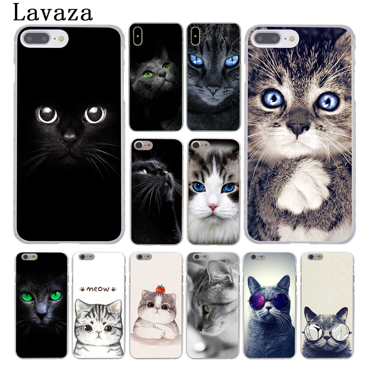 Lavaza kawaii Anime Black Cat Staring Eyes Hard Coque