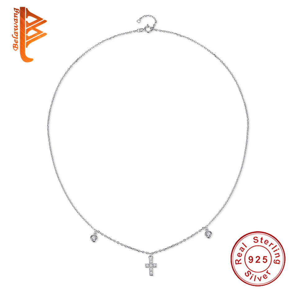 BELAWANG Original 925 Sterling Silver Faith Cross & Crystal Pendant Necklace For Women Chokers Silver Jewelry collier femme