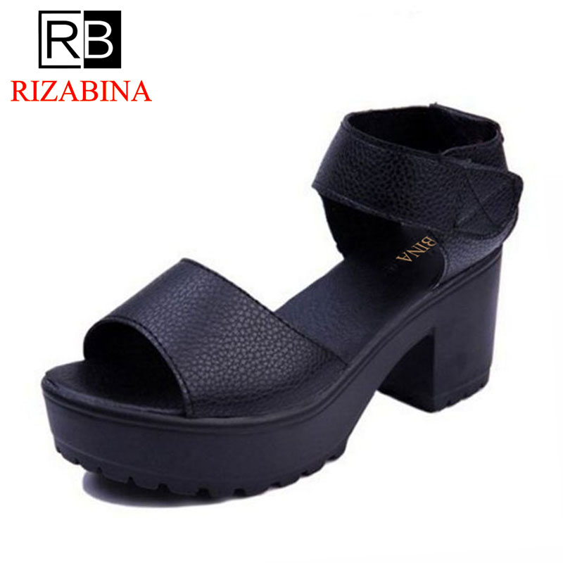 RizaBina Women Gladiator High Heel Sandals Platform Peep Toe Solid Color Thick Heel Sandals Summer Daily Shoes Woman Size 35-41 2017 new summer pep toe woman sandals platform thick heel summer women shoes hook