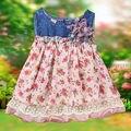 Новорожденных Девочек летом Dress Джинсовой Шифона Цветок Dress Девушки Дети Платья Одежда
