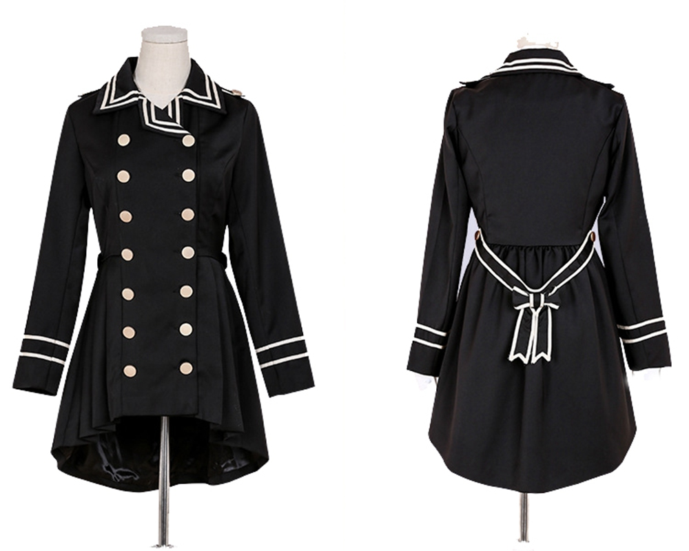 Black Gothic Lolita Coat Handsome Women Girls Princess Lace Swallow-tailed Double-breasted   Trench   Coats