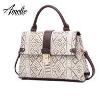 AMELIE GALANTI Luxury Leather Women Handbag Classical Geometric Pattern Embossed Fashion Women Crossbody Bags Large Shouder Bag Top-Handle Bags