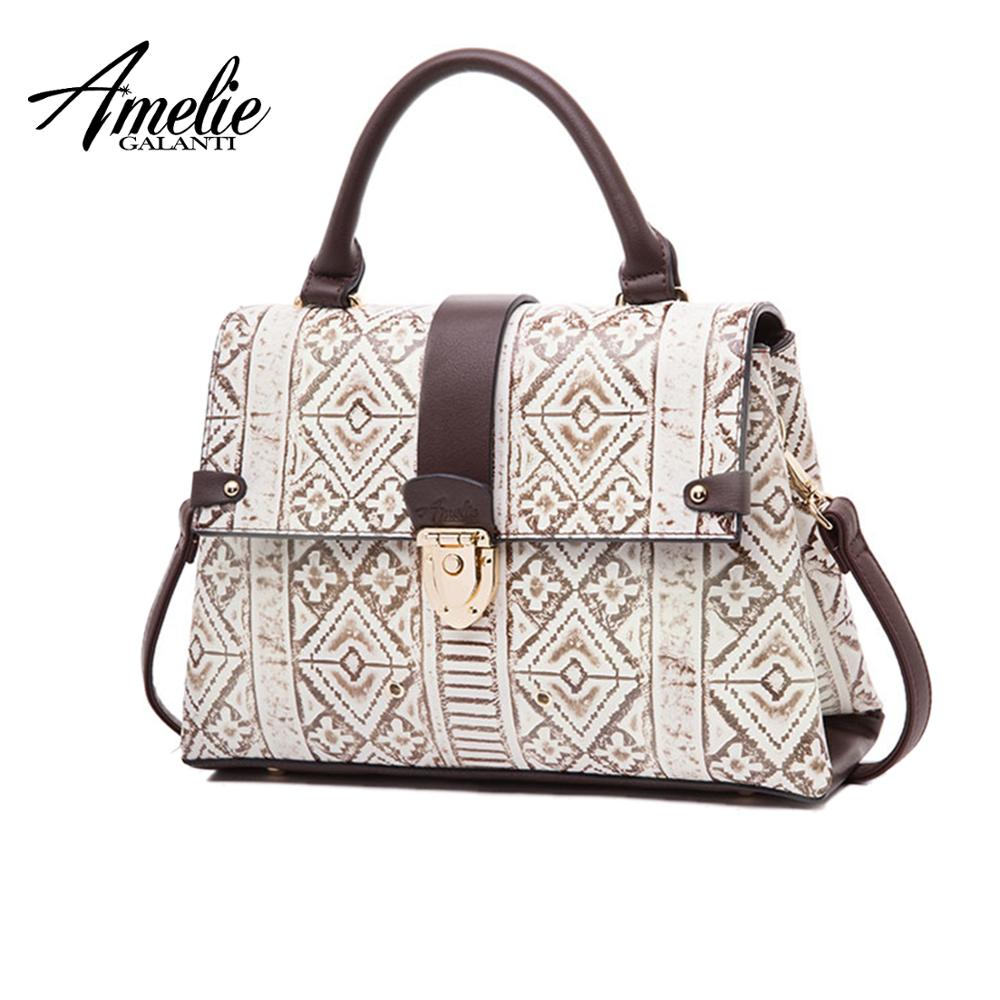 e9ab49ab9818 Amelie galanti роскошные кожаные для женщин сумки Классическая  геометрический узор тиснением модные женские туфли сумки через