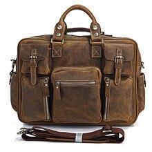 Vintage Crazy Horse Leather Men Travel Bag Of Trip Men Genui