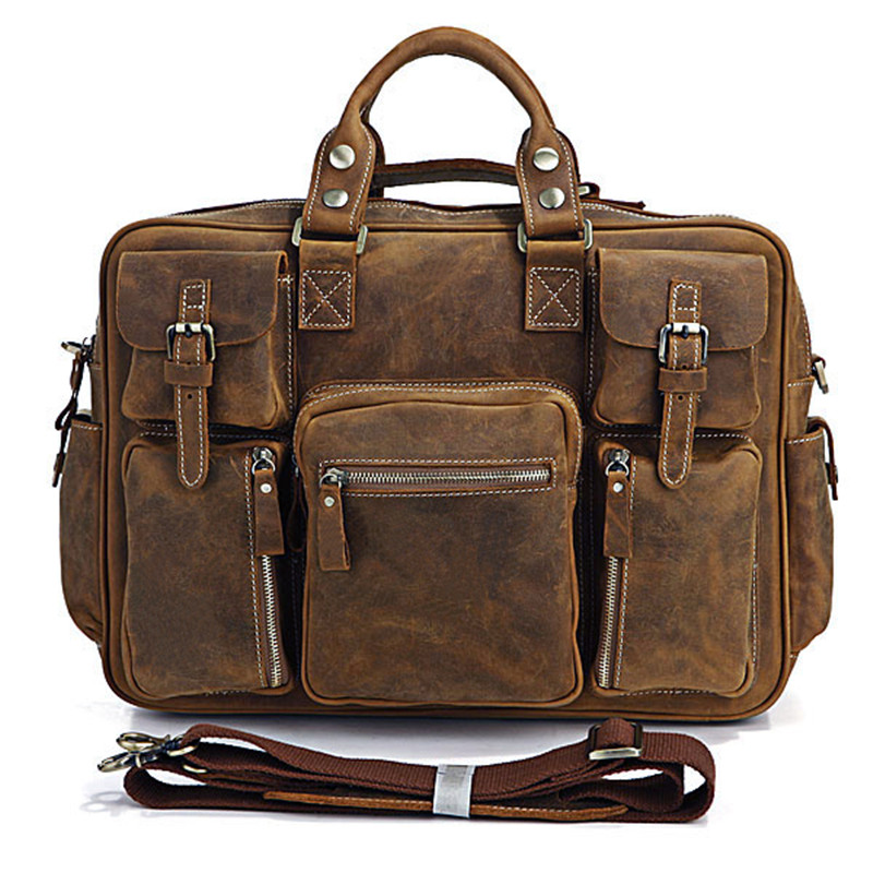 vintage crazy horse genuine leather men travel bags of trip men leather duffle bag luggage bag - Mens Leather Duffle Bag