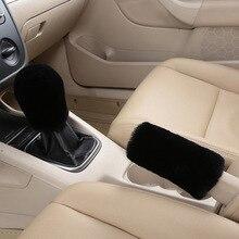 2pcs Gear Shift Car Handbrake Covers Hand brake Grips Soft Plush Decor