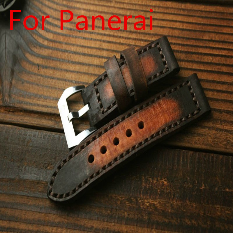 24MM * 24MM Handmade Calfskin Leather Strap, AAA Luxury Retro Leather Watchbands,Watch Belt For Pam hand made oil wax leather watchbands 24mm retro leather strap classic male models for pam italian calfskin strap