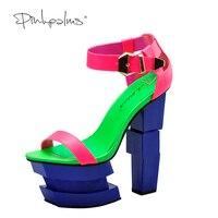 Pink Palms 2017 Women Summer Shoes Strange Style High Heels High Platform Blush Sexy Party Sandles