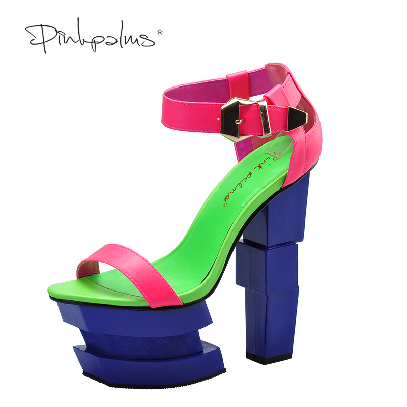 Pink Palms women summer sandals strange sexy high heel sandals sweetly blush women fashion buckle thick heel platform sandals рюкзак mi pac tropical palms tropical palms 081
