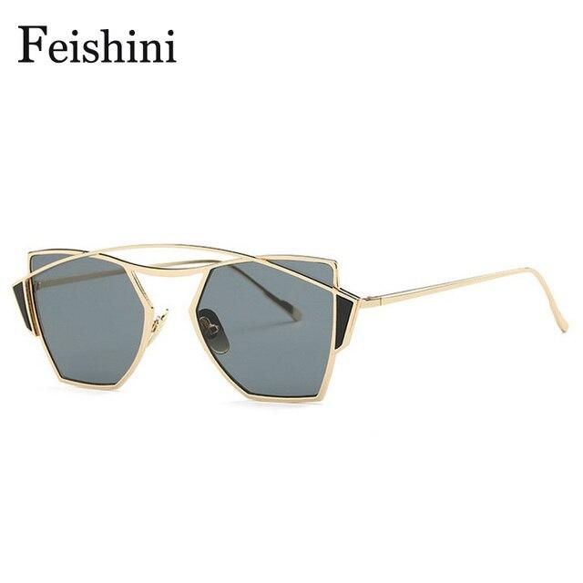 2acd4aea45 FEISHINI Brand Designer High Quality UV Colored Sunglasses Women Cat Eye  2018 Security Protect Eyesight SunGlasses