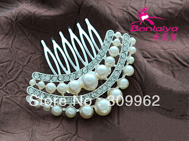2013 New Free Shipping 6pcs/lot Pearl Hair Combs Woman  Wedding Hair Accessories Fashion Bridal Head Wear Silver Plated Jewelry